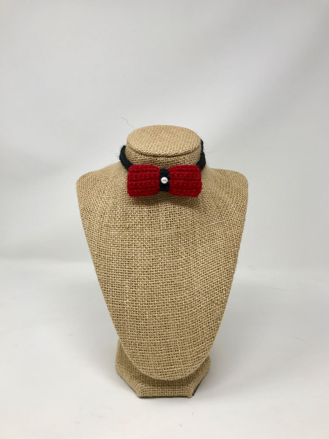 Mini Bow Tie Pet Collar -Red/Black