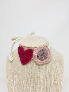 Heart & Flower Necklace - Spring Pinks