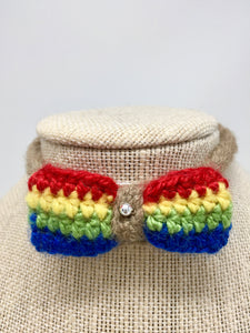 Mini Bow Tie Pet Collar -Rainbow