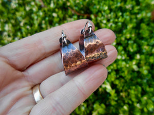 Copper Basket Hoop Earrings