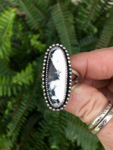 White Buffalo Turquoise Ring 8 1/2+