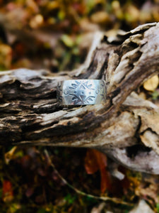Wide Stamped Ring  Size 8 1/2