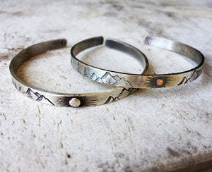 Mountain Love Cuff - Silver Sun