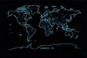 Glow-In-The-Dark Scratch Off World Map Poster - Sick Stuff