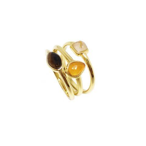 Yellow Gold Plated Three Rings Set Tiger's Eye, Rutilated Quartz and Carnelian