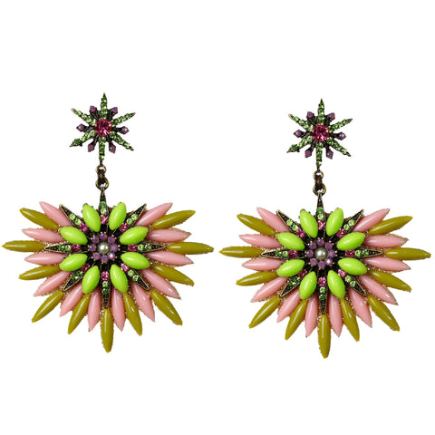 Pink & Green Chandelier Earring