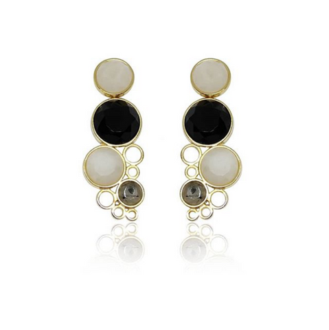 Yellow Gold Plated Earring Dolomite, Onyx and Graphite Rutilated Quartz