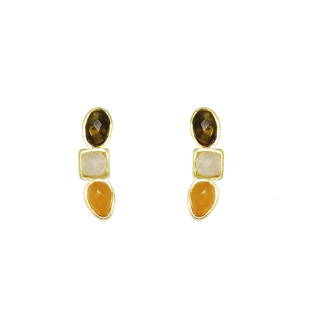 Yellow Gold Plated Ear Cuff Earring Tiger's Eye, Rutilated Quartz and Carnelian