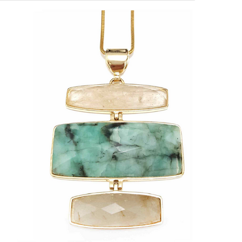 Yellow Gold Plated Brazilian Emerald and Rutilated Quartz Necklace