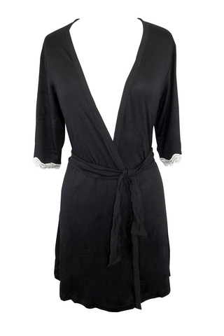 Lace-Trimmed Wrap Robe