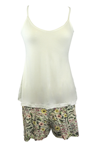 Beige Top and Floral Shorts Pajama Set