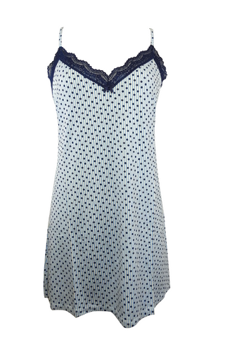 Lace-Trimmed Polka Dot Short Nightgown