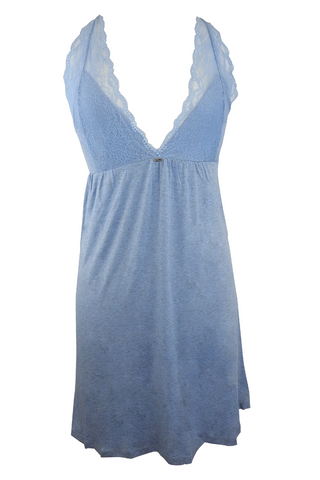 Ultra Soft Lace Mesh Detail Blue Nightgown