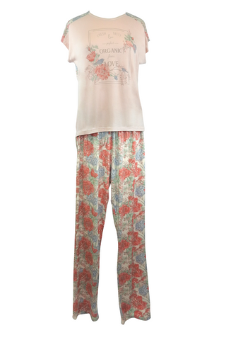 Floral-print Short Sleeves Long Pajama Pants Set