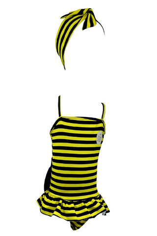 Girls One-piece Swimsuit with Hairband - Bee