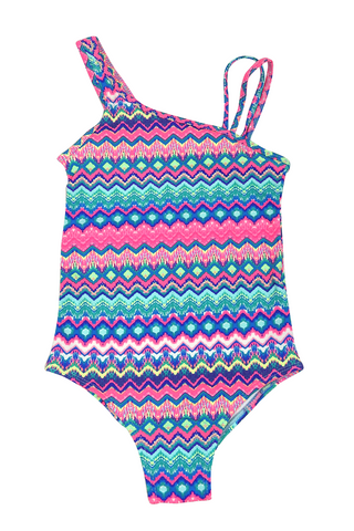 Girls One-piece Swimsuit - Asymetrical Neck