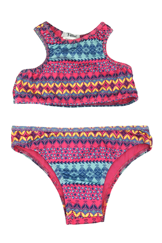 Girls Two-piece Swimsuit - Graphic Stripes Print