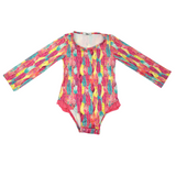 Girls One-piece Long Sleeves Swimsuit - Feathers