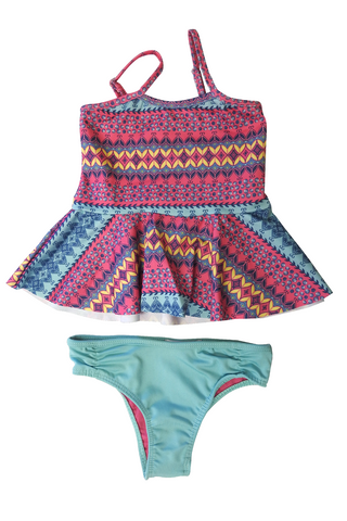 Girls Two-piece Swimsuit - Flouncy Graphic Stripes Print