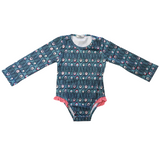 Girls One-piece Long Sleeves Swimsuit - Peacock feathers
