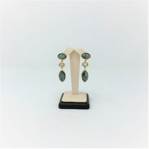 Yellow Gold Plated Brazilian Emerald and Fluorite Earring
