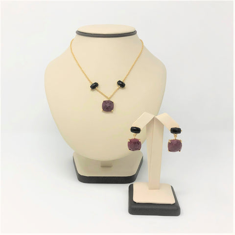 Yellow Gold Plated Onyx and Ruby Quartz Necklace and Earring set