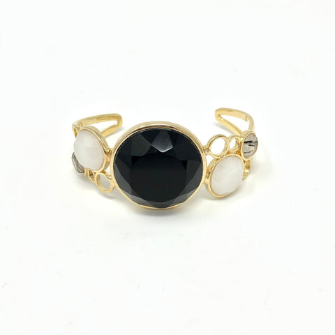 Yellow Gold Plated Dolomite, Onyx and Graphite Rutilated Quartz Bracelet