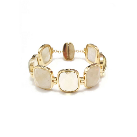 Yellow Gold Plated Bracelet Golden Rutilated Quartz and Green Gold