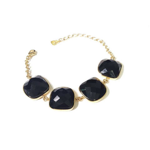 Yellow Gold Plated Onyx Bracelet