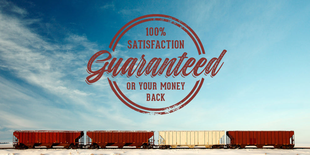 3 Bay hopper freight train cars showcasing the 100% Satisfaction Guarantee from Model Train Market