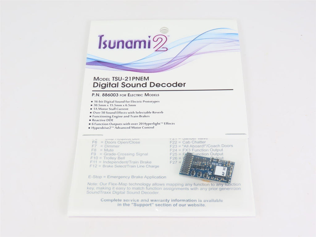 Soundtraxx Tsunami 2 TSU-21PNEM 886003 ELECTRIC 6-Function DCC / SOUND Decoder