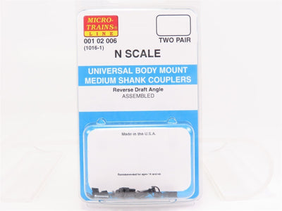 N Scale Micro-Trains MTL 00102006 Universal Body Mount Medium Shank Couplers