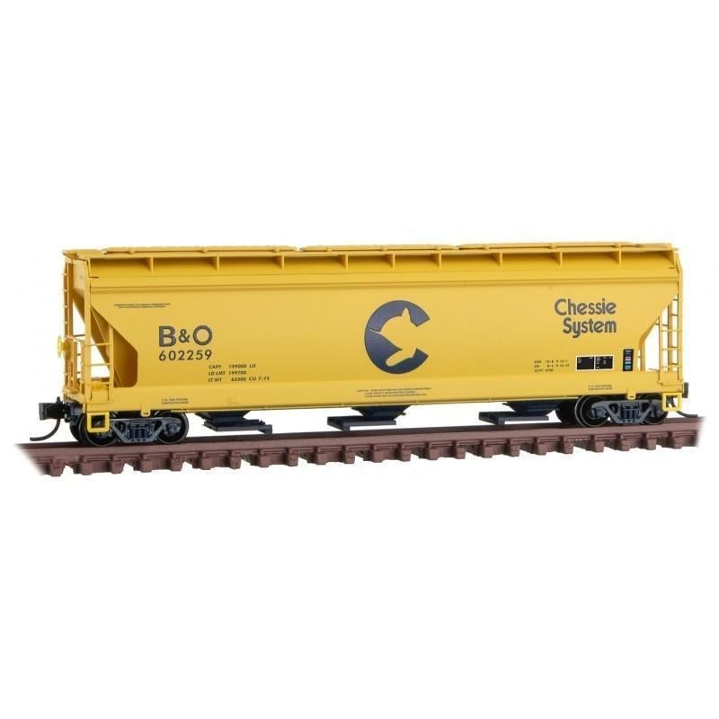 N Scale Micro-Trains MTL 09400660 B&O Chessie System 3-Bay Covered Hopper 602259 - Model Train Market