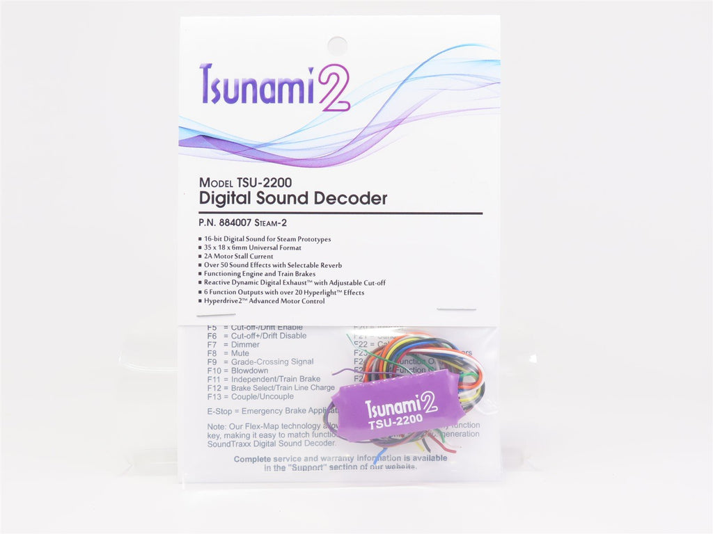 Soundtraxx Tsunami 2 TSU-2200 884007 Steam-2 DCC / SOUND Decoder 6-Func 2-Amp