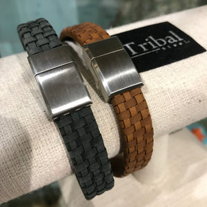 Thick Plaited Leather Bracelet