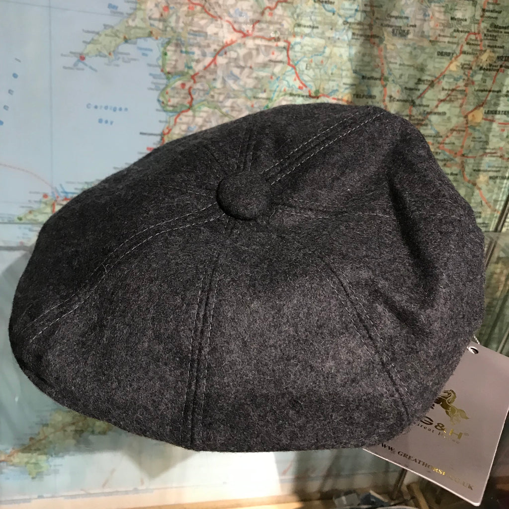 Grey Wool Baker Boy Cap - M