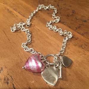 Martick Silver Necklace pink Murano heart