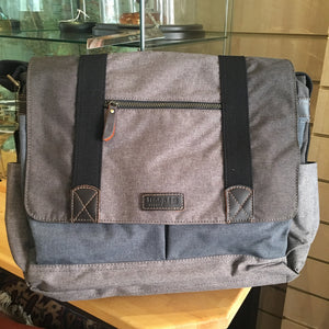 Messenger flap bag grey and Denim