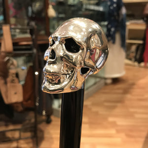 Silver Plated Skull Top Hardwood Walking Cane
