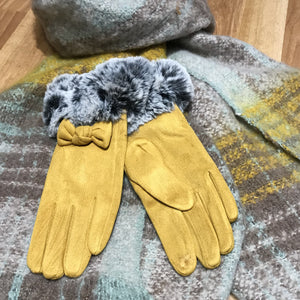 Suedette Fur Trimmed Gloves with Bow