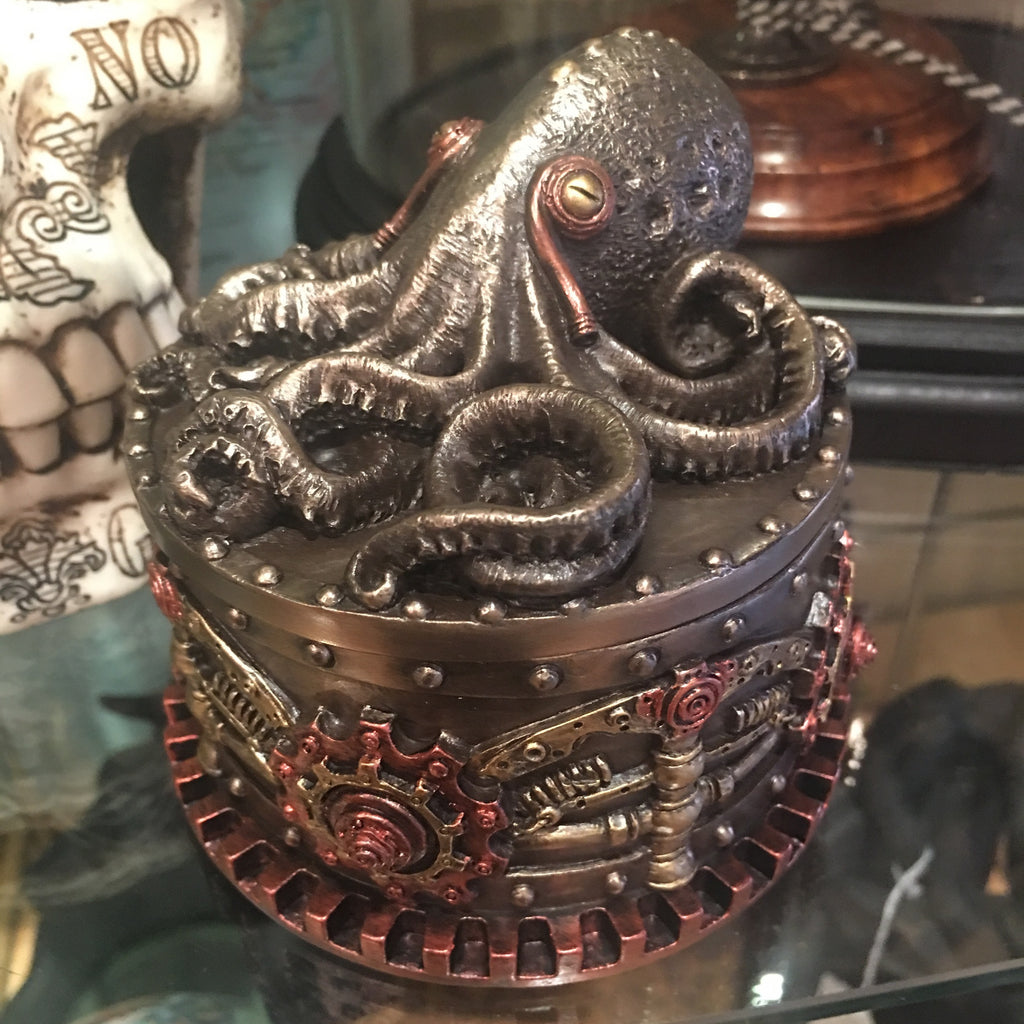 Steampunk Octopus Round Lidded Box