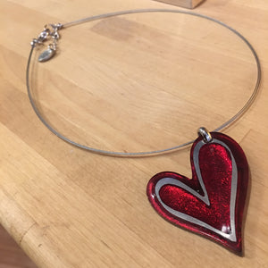 Red Linear Heart Pendant