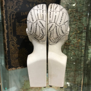 Ceramic Phrenology bookends