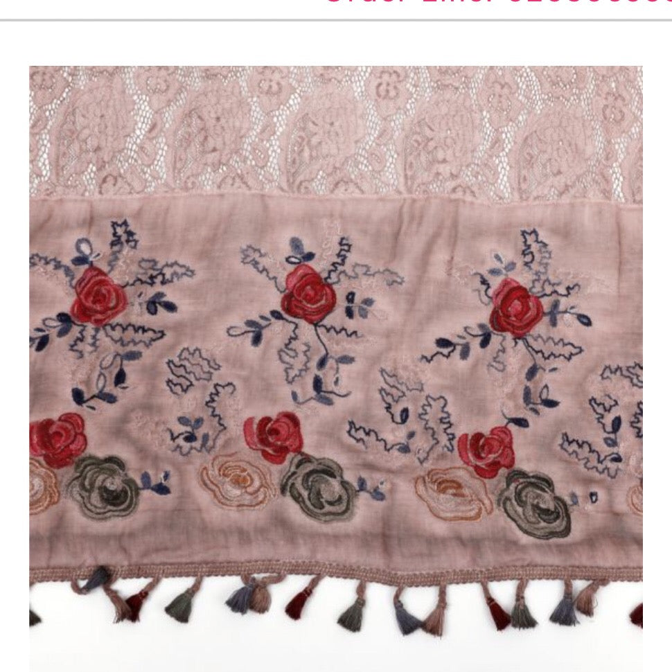 Vintage Embroidery Scarf