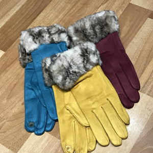 Suedette Fur Topped Gloves