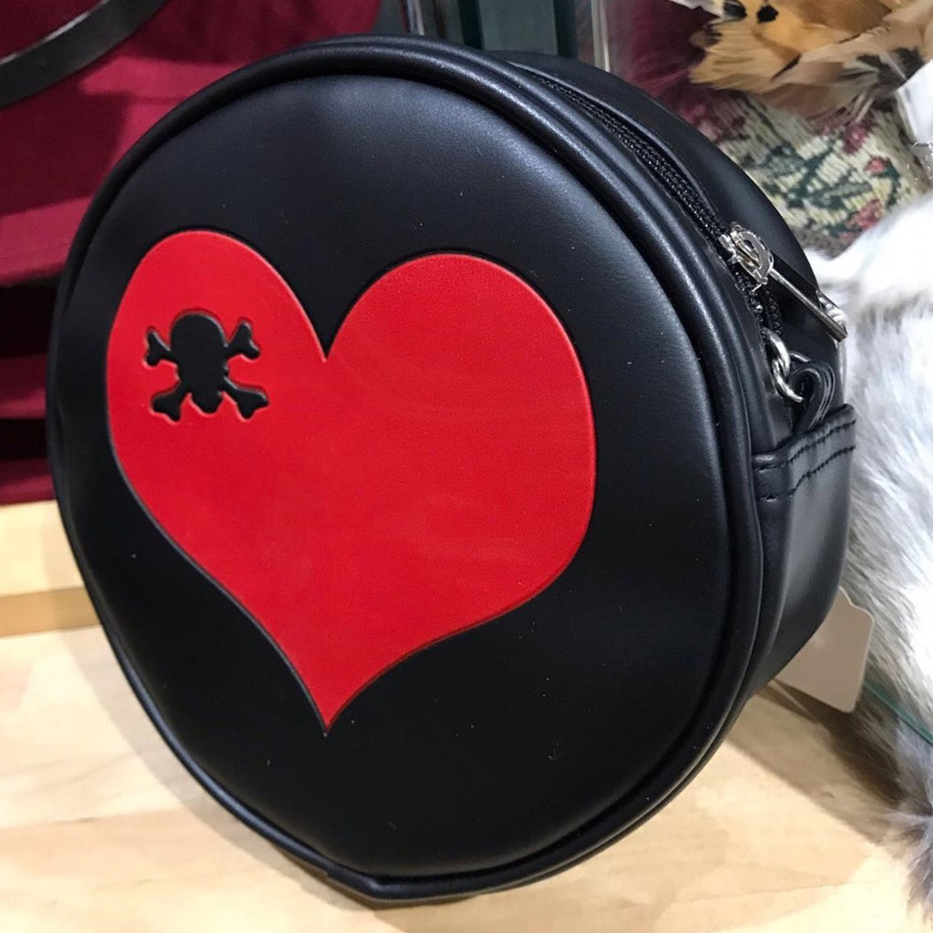 Purse bag heart and mini skull