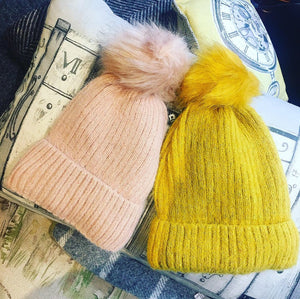 Wooly Beanie Hat with Pom Pom