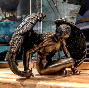 Male Bronzed Angel Figurine