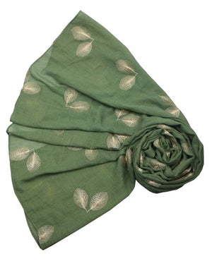 Scarf - Leaves Embroidery - Green