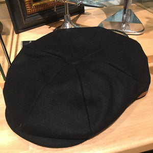 Black Wool Baker Boy Cap